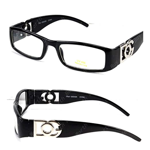 05f64f190103 Amazon.com: DG Clear Lens Frame Eye Glasses Fashion Nerd Mens Women  Designer Black Retro: Clothing