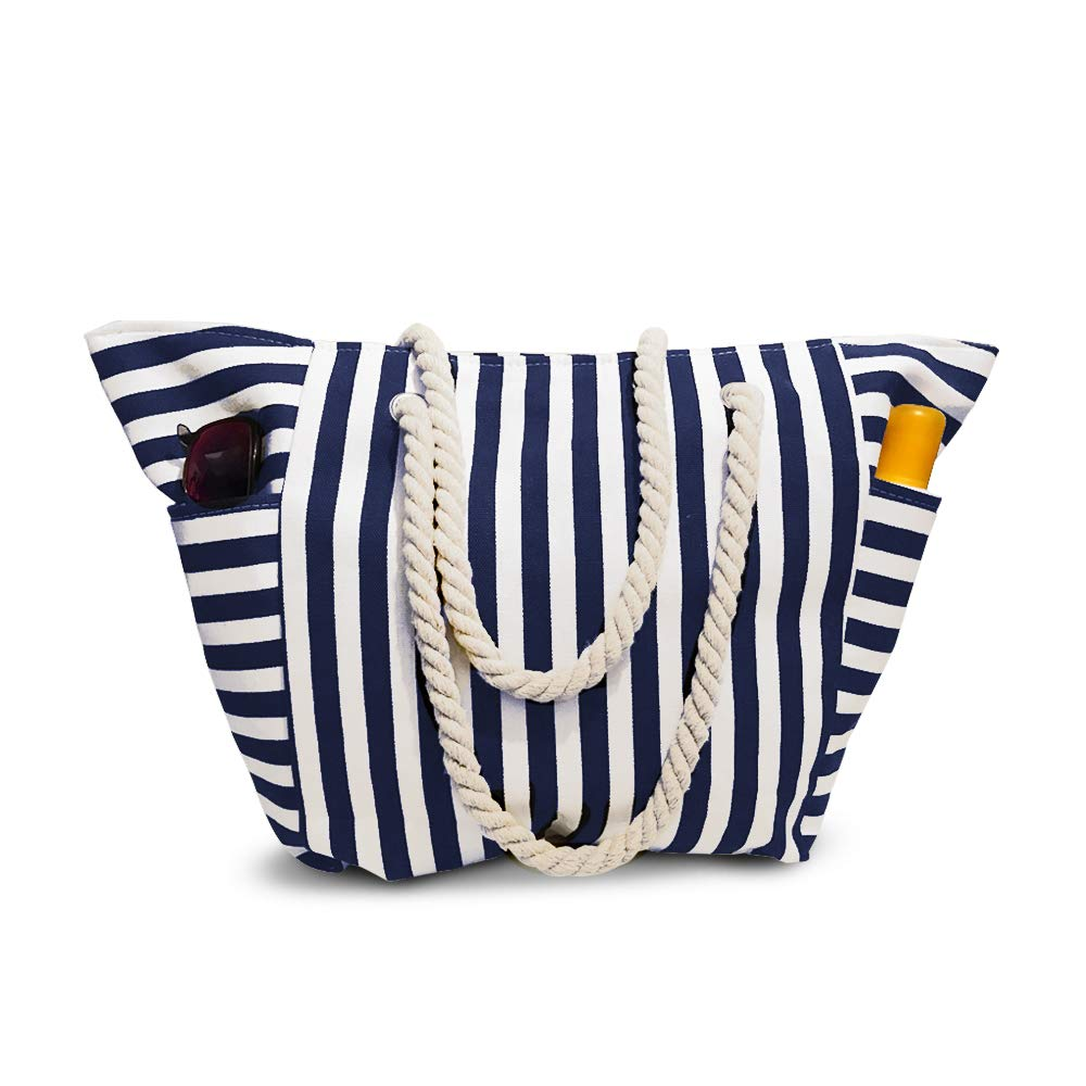 Beach Bag Canvas With Waterproof Inside Lining - Outer Pockets for Bottles from Moskus Gear - Striped Pool Tote & Bonus item