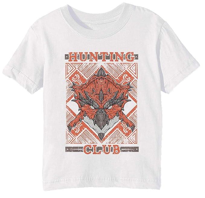 Erido Hunting Club Rathalos Niños Unisexo Niño Niña Camiseta Cuello Redondo Blanco Manga Corta Tamaño XS