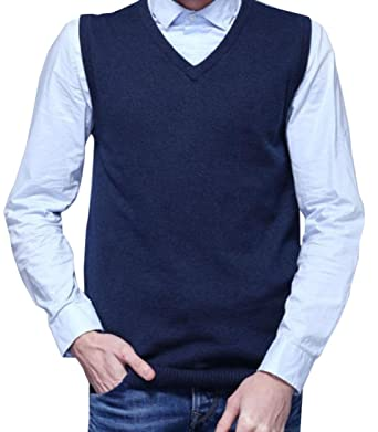 Winwinus Mens Pullover V Neck So Knit Slim Fit Sweater Vest at ...