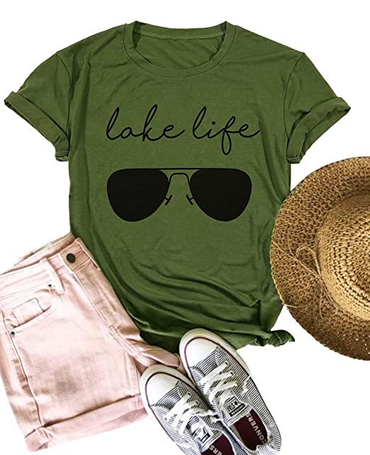 dbd48b540aec9 Lake Life Sunglasses Funny T-Shirt Women Letter Print Graphic Tee Casual  Short Sleeve Shirt