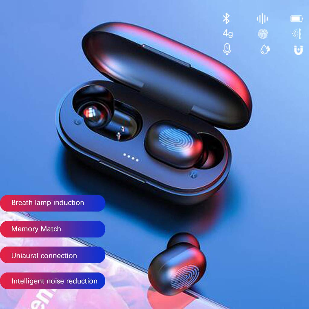 LFJNET A6X TWS Bluetooth Earphone Wireless in-Ear Earbuds Sport Headset BT 5.0 with 280mAh Charging Box Compatible for iOS Android Windows