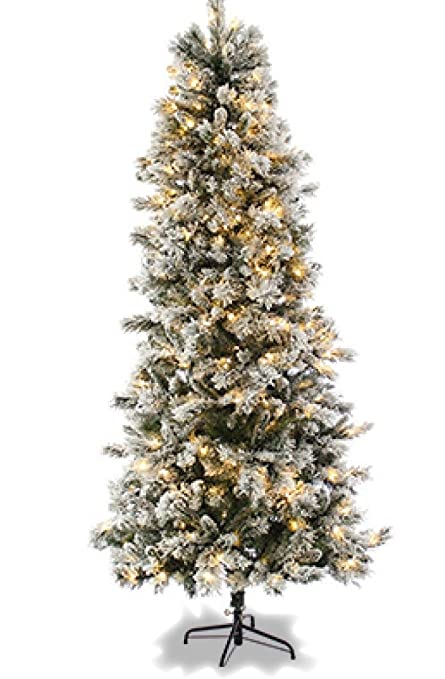 7ft Slim Flocked Spruce Pre Lit Christmas Tree Amazoncouk