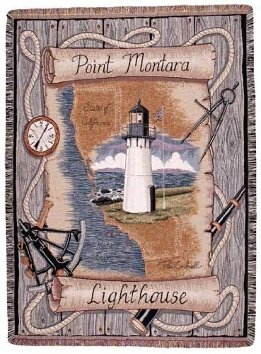 Simply Home Point Montara California Lighthouse Colorful Tapestry Throw Blanket 50