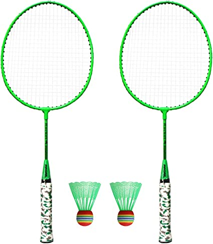Alecony Badminton Rackets 4 Players Badminton Racquets with Shuttlecocks /& Net System Lawn Beach Birdies Ball Sets for Family Indoor Outdoor Sport Exercise Badminton Set for Children /& Adults