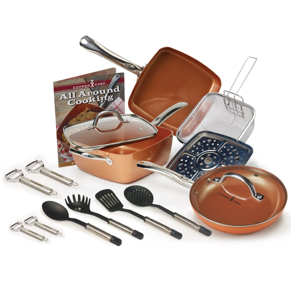 Kitchen Cookware Copper Chef 13 Pc Deep 9 5 In Square Non
