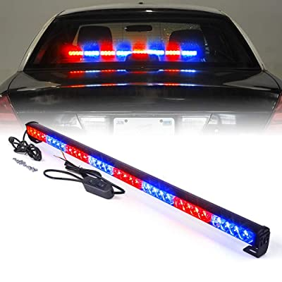 "Xprite 35.5"" Red Mix Blue 32 LED Traffic Advisor Advising Emergency Vehicle Strobe Top Roof Light Bar w/ 13 Warning Flashing Modes for Trucks Cars: Automotive"