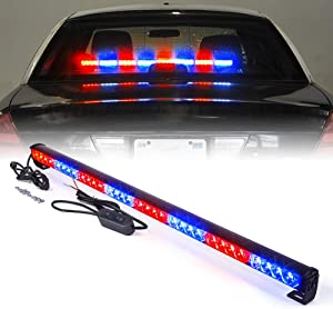 "Xprite 35.5"" Red Mix Blue 32 LED Traffic Advisor Advising Emergency Vehicle Strobe Top Roof Light Bar w/ 13 Warning Flashing Modes for Trucks Cars"