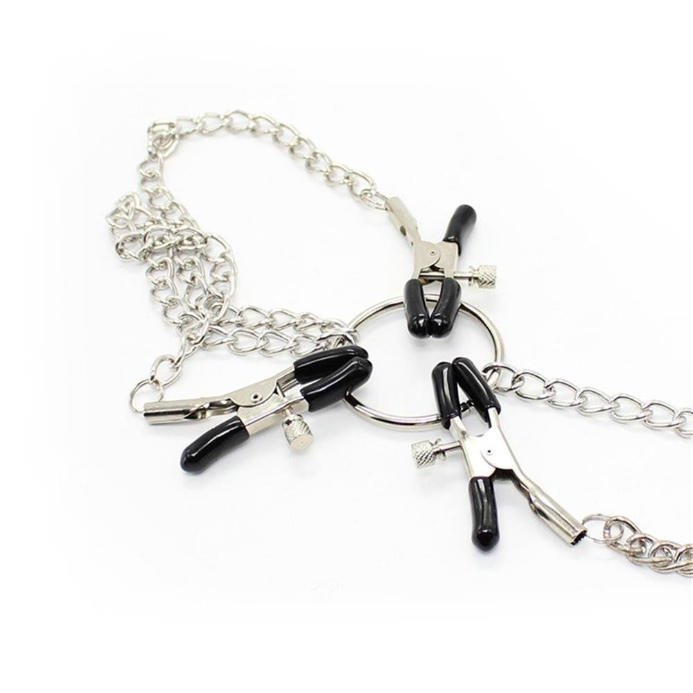 Nippelklemmen Nipple Clamps und Metallkette Klitoris Clip,Erotik SM BDSM Sexspielzeug Für Frauen und Männer