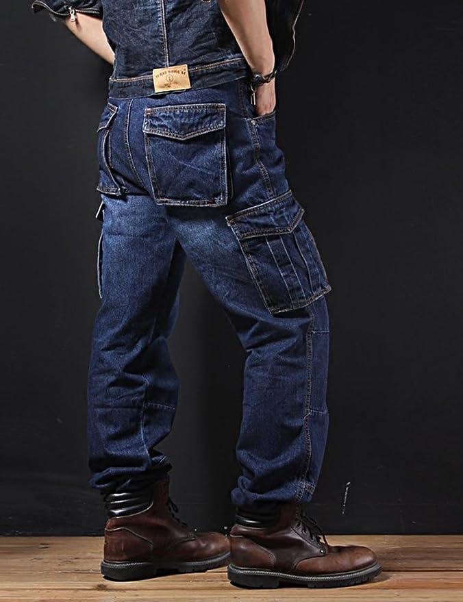 Idopy Men`s Loose Fit Motorcycle Multi-Pockets Workwear Denim Cargo Jeans Plus Size