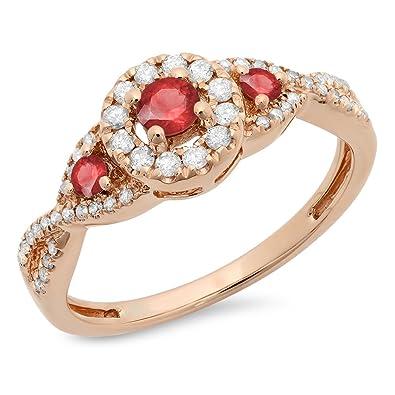 8e0c6e31f0 Dazzlingrock Collection 10K Round Ruby & White Diamond Ladies 3 Stone Swirl  Halo Style Vintage Bridal Engagement Ring, White Gold | Amazon.com