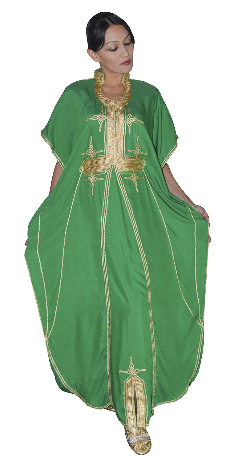 Moroccan Caftans Women Malakia Hand Made with Gold Embroidery Long Length One Size Treasures Of Morocco butterfly Caftan Green