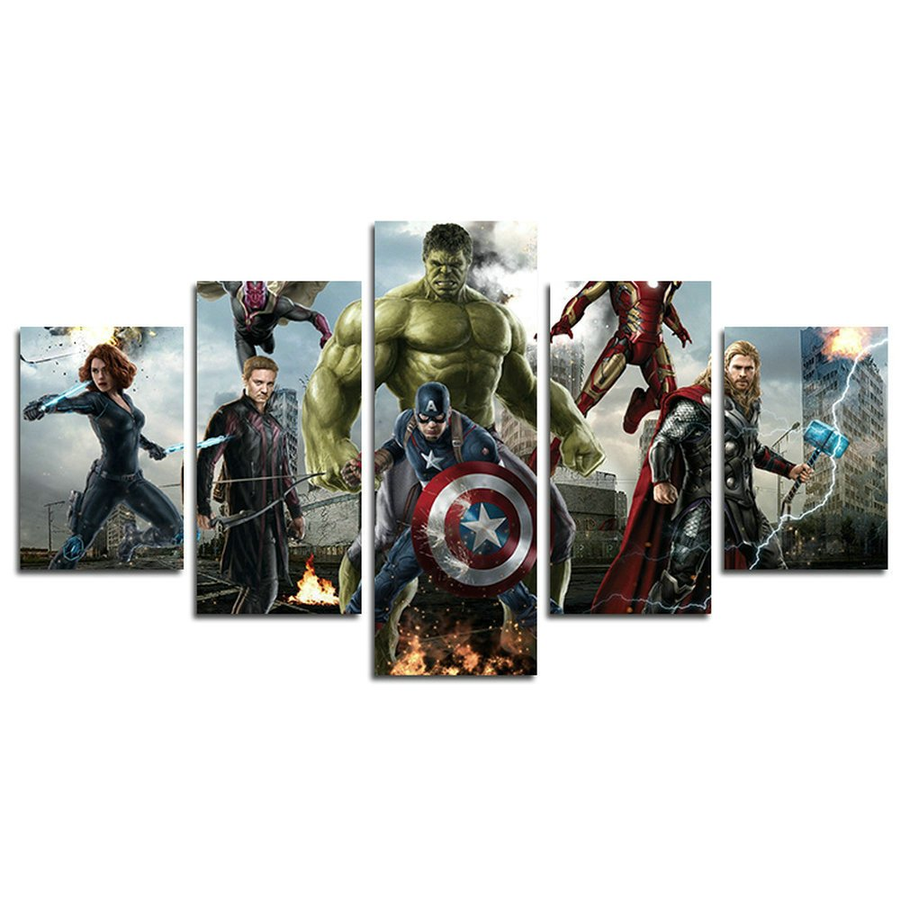 AtfArt 5 Piece Miracle Avenger Era Superhero Captain America Iron Man Hul painting for living room home decor Canvas art wall poster (No Frame) Unframed HB64 inch x30 inch by AtfArt