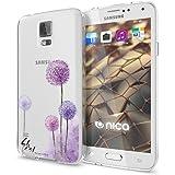 Samsung Galaxy S5 S5 Neo Hülle Handyhülle von NICA, Slim Silikon Motiv Case Cover Crystal Schutzhülle Dünn Durchsichtig, Etui Handy-Tasche Backcover Transparent Bumper, Designs:Dandelion Pink