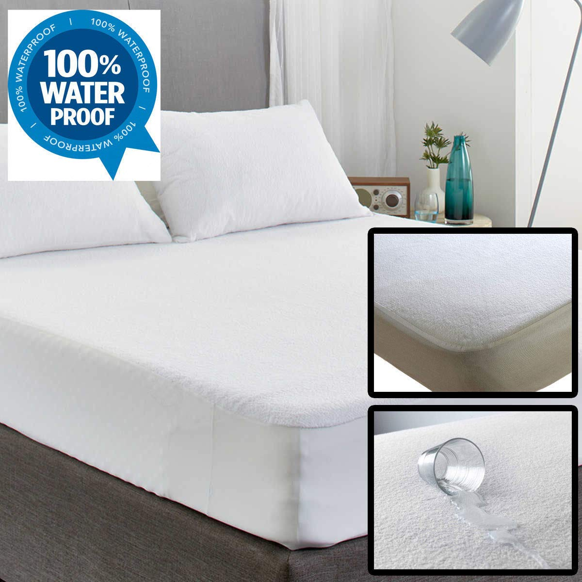 Anti Bacterial Single King Cot Bed S-King Cot Bed and Pillow Pair. Cot Double Non Noisy IMFAA 40CM//16 Extra Deep Terry Towel 100/% Water Proof Mattress Protector Topper Cover