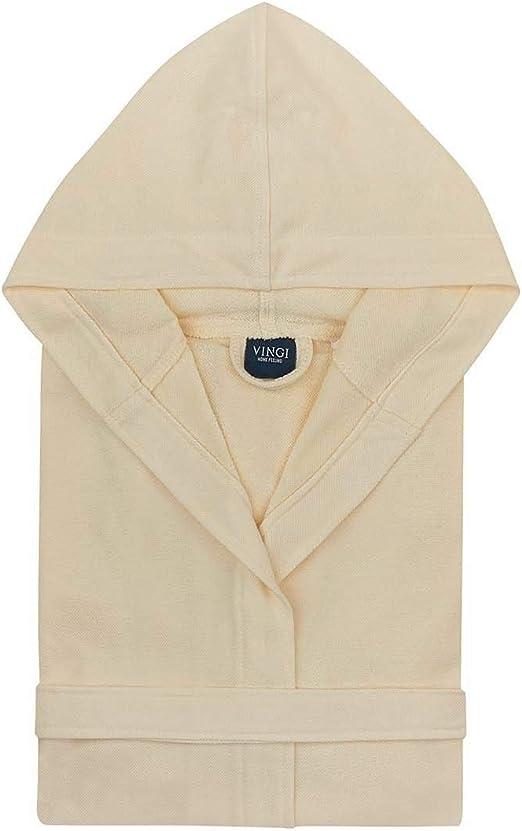 Vingi Alambra Store - Albornoz para hombre y mujer, de micro rizo, ligero, de algodón, ahorra espacio multicolor crema L/XL: Amazon.es: Hogar