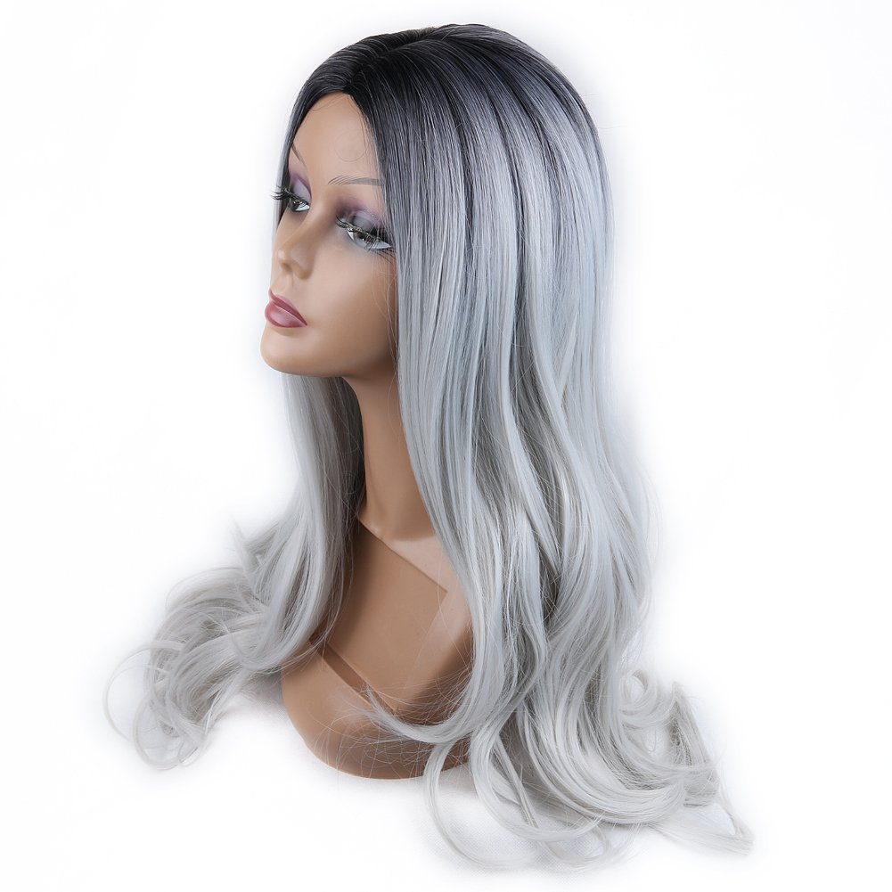 Amazon.com : HANNE Ombre Color 1B/Gray Long Curly Wig Heat ...