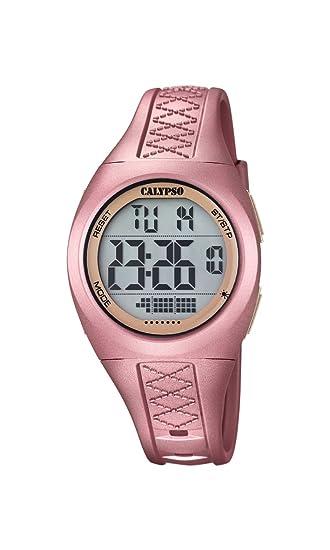 Calypso - Reloj Digital Unisex con dial de LCD Pantalla Digital y Rosa Correa de plástico K5668/4: Amazon.es: Relojes