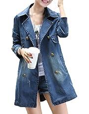 Mujer Chaqueta Vaquera Básica invierno talla grande Sannysis Mujeres Corto Chaquetas Jacket De Mezclilla Abrigo Denim Jacket baratos Largo Jean Outwear