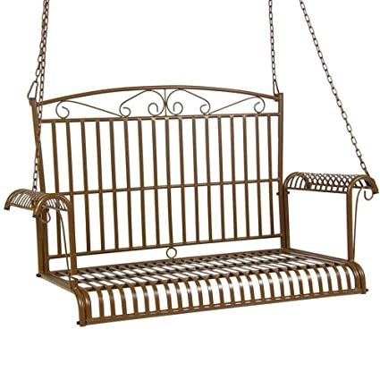 Amazoncom Bs Outdoor Porch Swing With Chain Metal 54 Wide 2