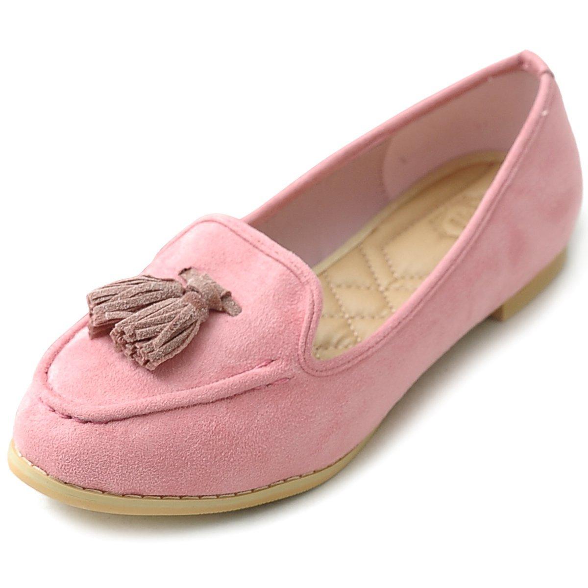 Ollio Women's Ballet Shoe Tassel Faux-Suede Cute Flat B00GFXBYQA 6.5 B(M) US|Pink