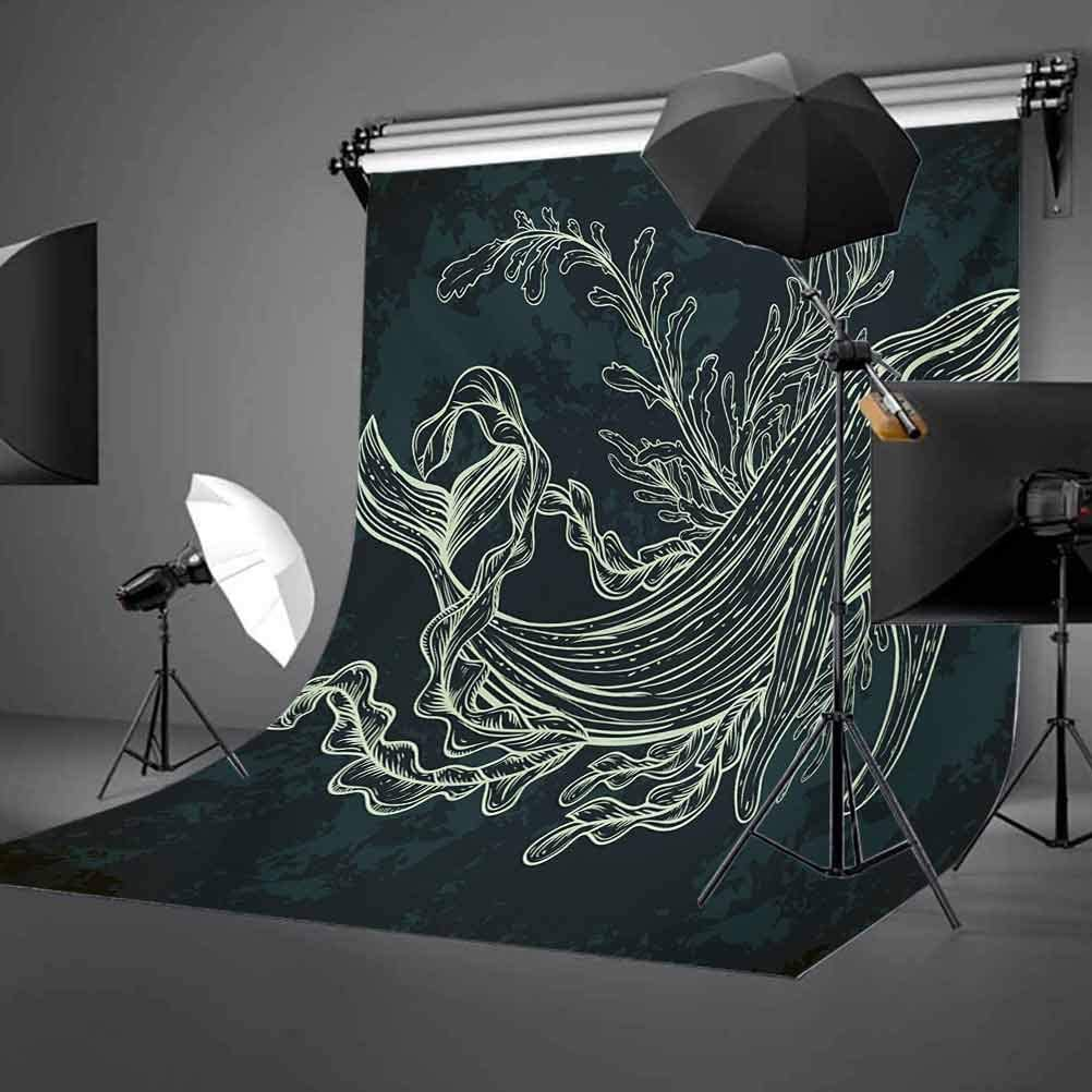 Whale 10x12 FT Photo Backdrops,Silhouette of Whale in Doodle Style with Coral Reef and Seaweeds Print Background for Baby Birthday Party Wedding Vinyl Studio Props Photography Slate and Petrol Blue