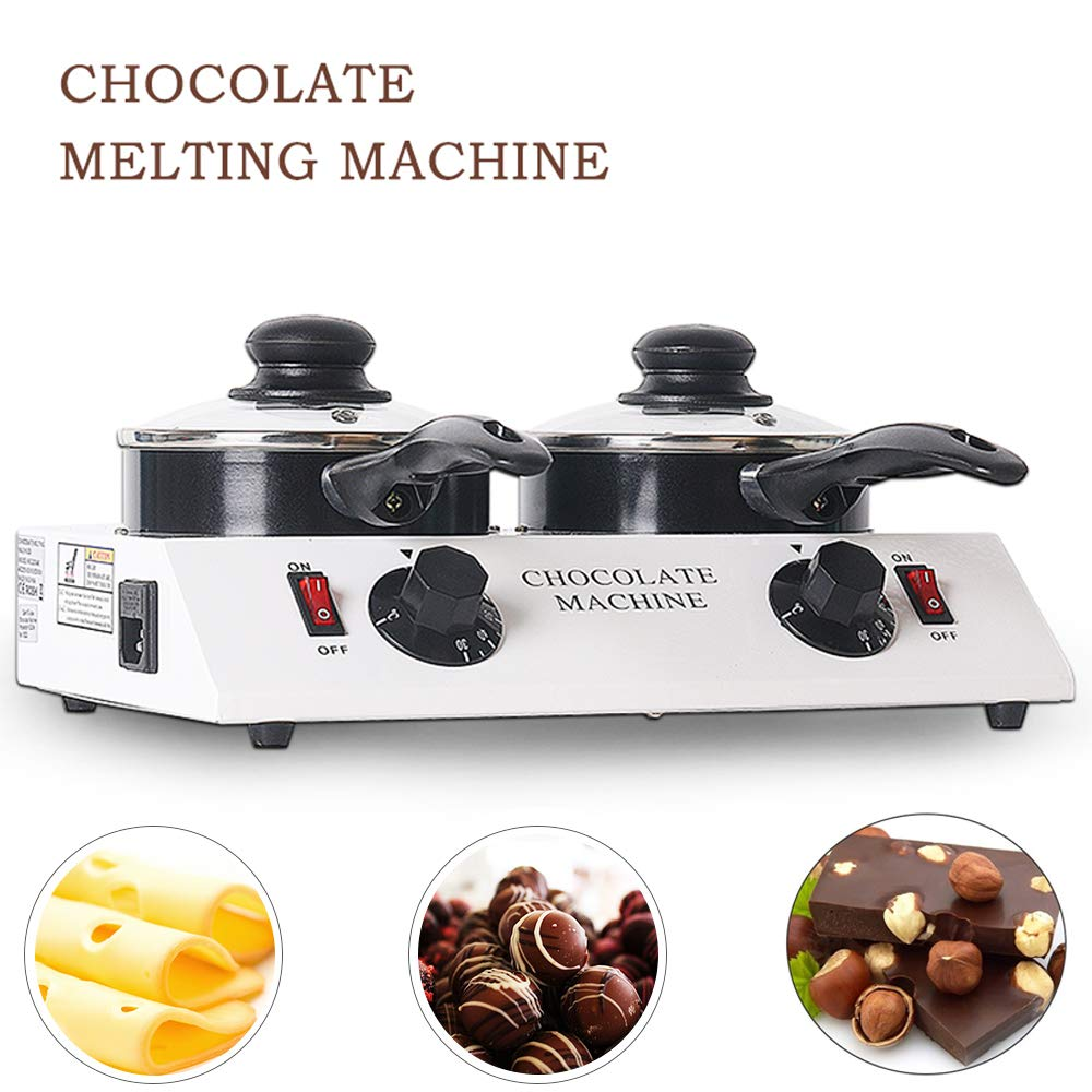 TRUSTME 80W Mini Electric Chocolate Melting Machine Ceramic Non-Stick Double Pot Tempering Cylinder Melter Pan 110V/60Hz