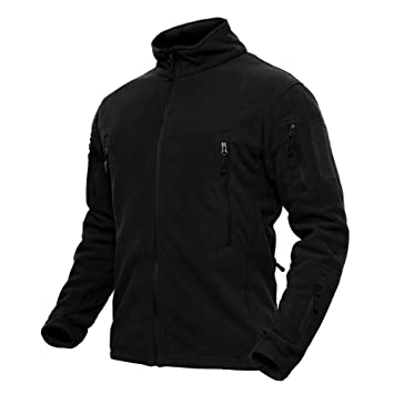 de445b87a TACVASEN Slim Fit Men's Outdoor Military Fleece Jacket with Zip Pockets