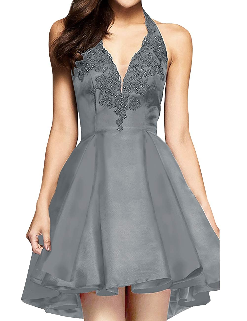 Steel Grey MorySong Women's Applique Lace Satin Halter Neck Short Homecoming Cocktail Dress