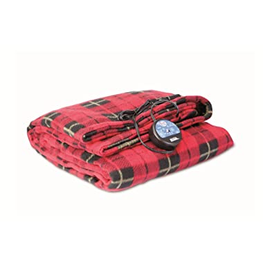 MAXSA 20014 Large Heated Travel Blanket for In-Vehicle Usage with 12-Volt Car Adapter and Safety Timer (41  x 57 ), Red Plaid