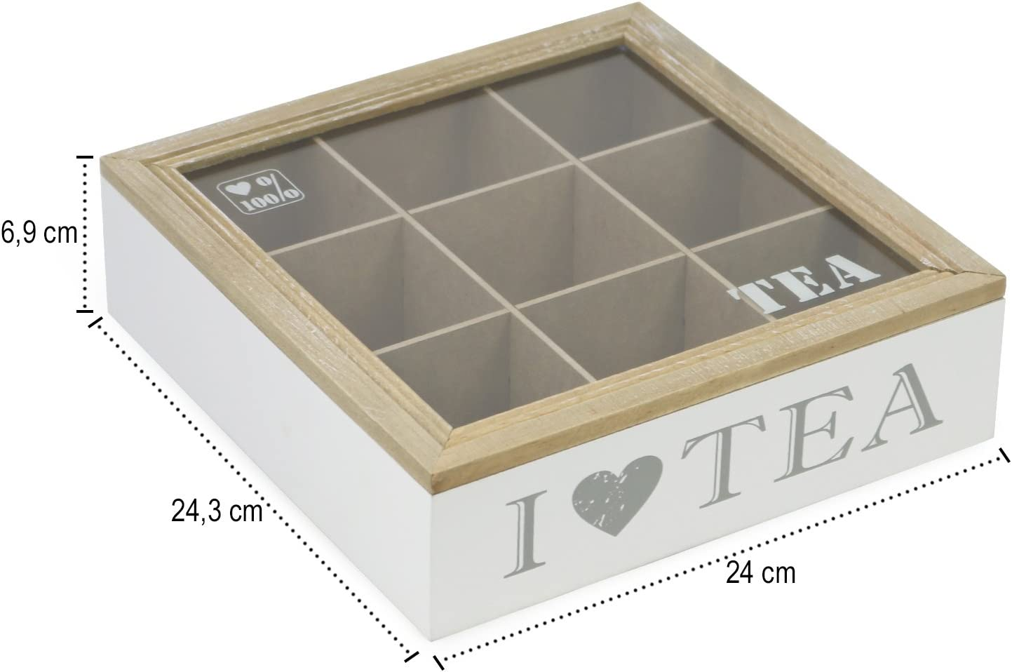 com-four/® Caja de Almacenamiento para bolsitas de t/é Caja de t/é Blanca de Madera con Tapa marr/ón con 9 Compartimentos y Ventana de visualizaci/ón de Vidrio 01 Piezas - 9 Compartimentos