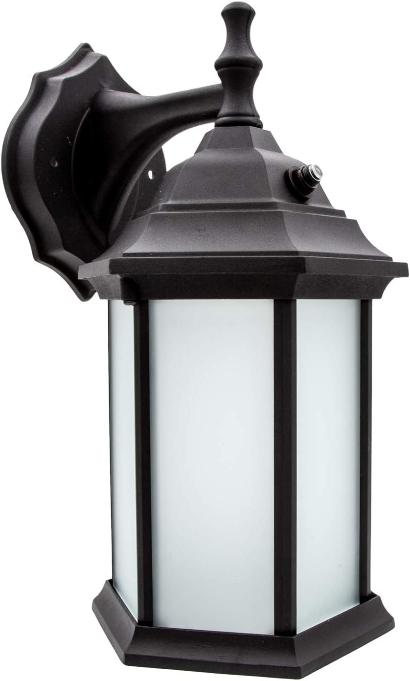 Maxxima LED Outdoor Wall Light, Black w/Frosted Glass, Dusk to Dawn Sensor, 650 Lumens Warm White