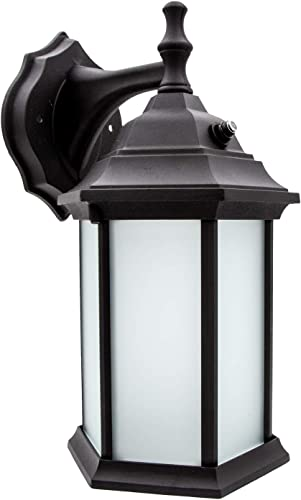 Maxxima LED Outdoor Wall Light, Black w Frosted Glass, Dusk to Dawn Sensor, 650 Lumens Warm White