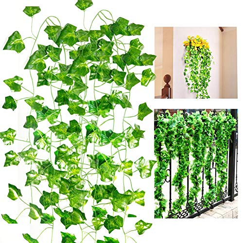 Roffel Ivy Garland - 16 Pack 110 Ft Artificial Plants Vines Fake Ivy Greenery Garland Leaves Hanging Plants for Wedding Party Garden Office Wall Decoration