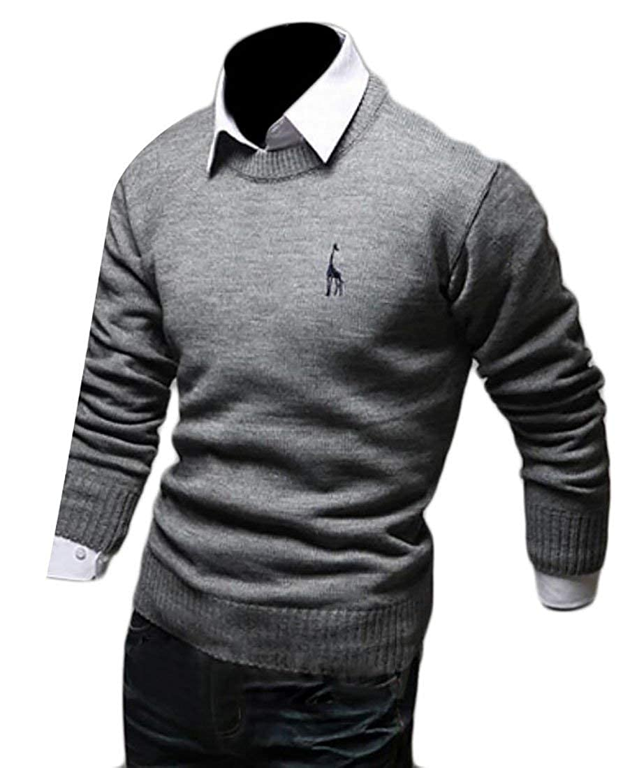 Alion Mens Casual Slim Fit Long Sleeve Solid Color Basic Knit Pullover Sweater