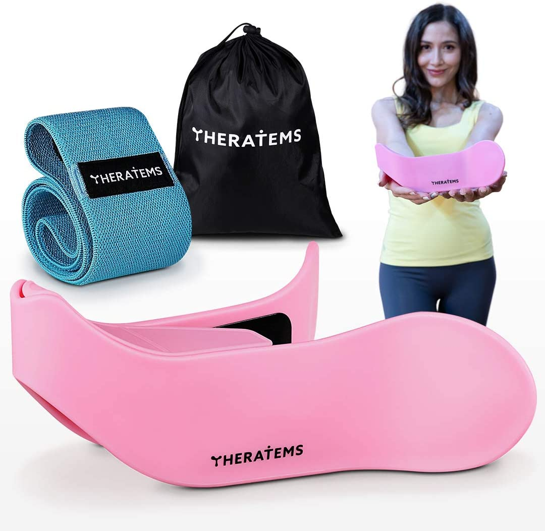THERATEMS Hip Trainer Set - Premium Kegel Exerciser and Resistance Band Pelvic Floor Strengthening Device and Booty Exercise Machine Booty Sprout at Home Work Equipment for Women (Pink)