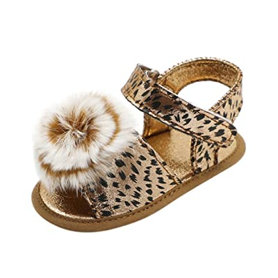 QinMM Bébé Fille Princesse Sandale Léopard Furball Crib Chaussures, Semelle  Souple Anti-Dérapant Unique eb47ef96625d