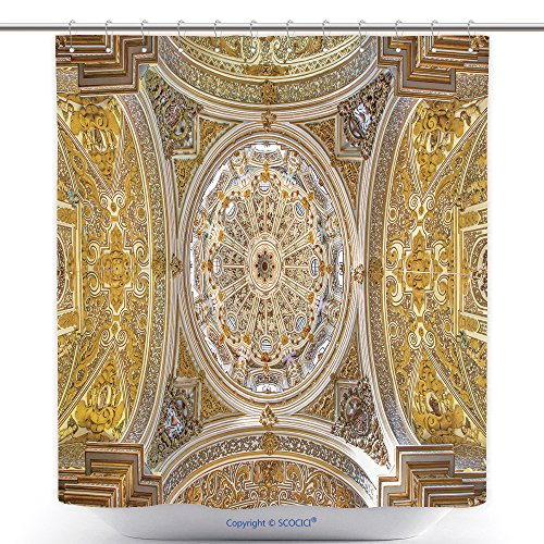 Custom Shower Curtains Granada Spain May The Ceiling And Cupolas Of Church Nuestra Senora De Las Angustias 286370804 Polyester Bathroom Shower Curtain Set With Hooks by