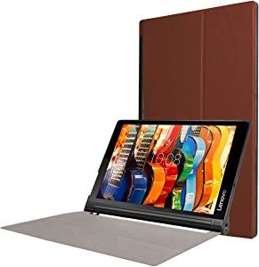 XIAYAN Tablet Covers Custer Texture Horizontal Flip Solid Color Leather Case with Three-Folding Holder for Lenovo Yoga Tab 3 Pro X90L, 10.1 inch(Black) Protective Cover Case Skin (Color : Coffee)