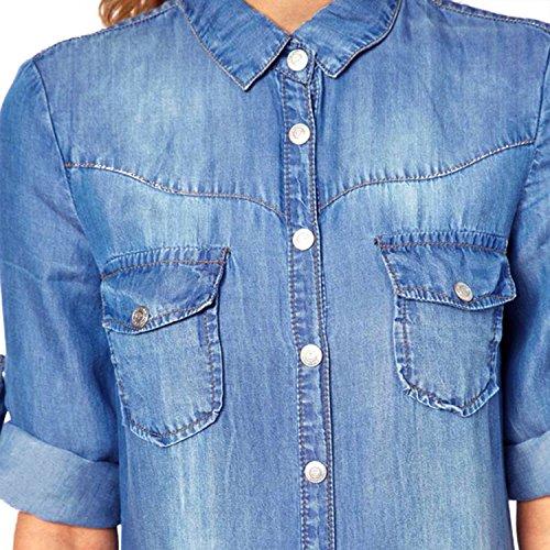 Blu Pulsante arrotolate denim Camicia Escalier Donna vestito dal maniche xvqpnwFTH