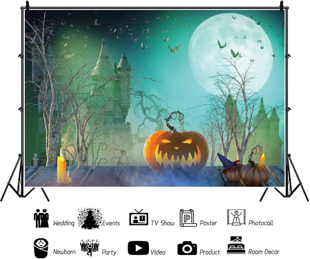 Leowefowa Happy Halloween Backdrop 10x8ft Vinyl Cartoon Gloomy Full Moon Haunted Castle Spooky Cemetery Decayed Trees Grimace Pumpkin Lamps Wood Floor Background Child Baby Shoot Trick Or Treat