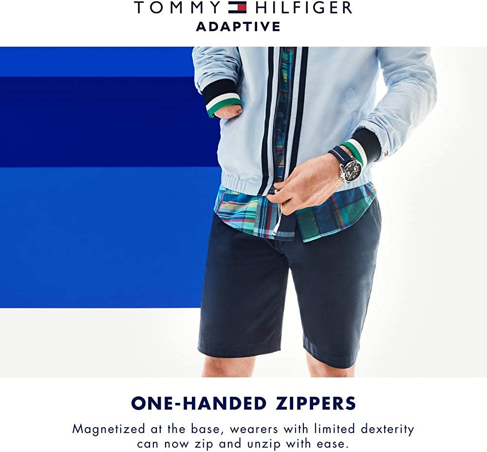 Sky captain Tommy Hilfiger Boys Adaptive Zip Mock Neck with Magnetic Zipper