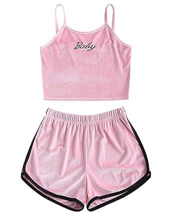 5c10da58da37 ZAFUL Womens Velvet Embroidered 2 Piece Outfit Spaghetti Strap Sleeveless Crop  Top Shorts Set at Amazon Women's Clothing store: