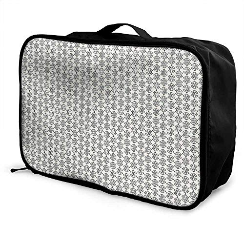 (Diamonds Luggage trolley bag Monochrome Geometrical Design with Herringbone Pattern Triangles Abstract Pattern Waterproof Fashion Lightweight Ivory Black)