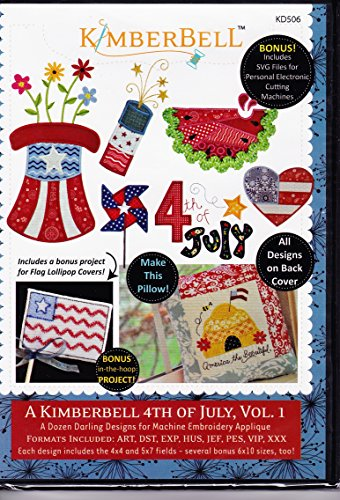 Kimberbell 4th of July Vol. 1 Machine Embroidery CD KD506 (Heart Flag Embroidery)