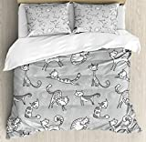 Ambesonne Grey Decor Duvet Cover Set, Cute Cat Figures Posing over Floral Background Feline Kitten Kitty Cartoon Art Prints, 3 Piece Bedding Set with Pillow Shams, Queen/Full, White