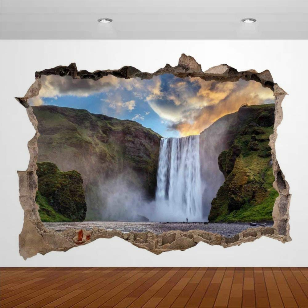 Nature Beautiful Lake Mountain Waterfall Iceland 3D Wall Stickers Mural Smashed Wall Art Creative Removable Poster Vinyl Decals for Bedroom Living Room Playroom Nursery Office Shop