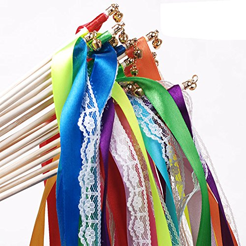 Hangnuo Pack of 10 Wedding Birthday Party Silk Lace Ribbon With Bells Streamers Wands Fairy Stick Mix Color