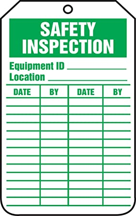 Green on White LegendSAFETY Inspection LegendSAFETY Inspection 5.75 Length x 3.25 Width x 0.010 Thickness Pack of 5 5.75 Length x 3.25 Width x 0.010 Thickness Accuform TRS315CTM PF-Cardstock Inspection /& Status Record Tag