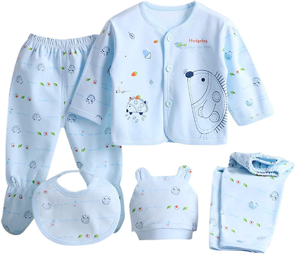 5 PC Newborn Baby Boy Girl Cotton Outfit Set Long Sleeve Cartoon Tops+2 PC Pants+Hat+Bib Layette Sets